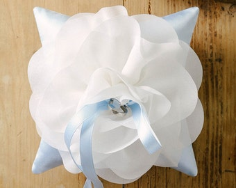 Ivory and blue wedding ring pillow, flower ring pillow, wedding ring bearer, ring bearer pillow - Aria