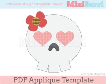 Mrs. Skull Applique Pattern PDF Applique Template in 3 Sizes