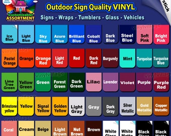 12x12 COMPLETE set 50 sheets  Adhesive Backed Vinyl Outdoor sign Craft, wraps, tumblers, glass, vehicles, vinyl_village