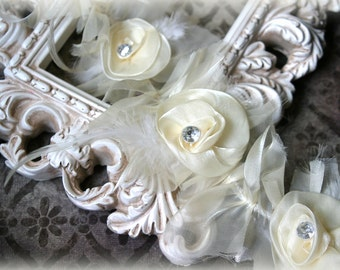 Tresors   Exquisite Ivory Trim with Satin, Organza, Feathers, and Rhinestone Centered Flowers, GL-144