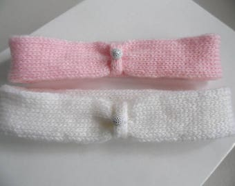 Headbands for baby pink and white wool baby girl, unique creation hand knitted 1 m baby fai PE hand knit baby