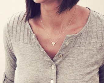 Tiny Triangle Necklace / Triangle Initial Necklace / Gold Triangle Necklace / Rose Gold Traingle Necklace / Dainty Silver Initial Necklace