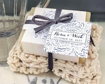 24 Custom Soap and Washcloth Kit Wedding Favors Botanical Collection