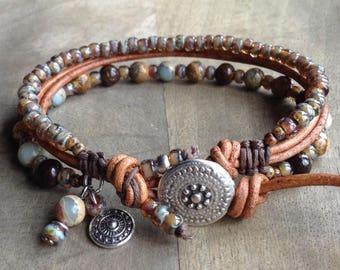 Bohemian bracelet gift for her boho bracelet boho chic bracelet womens jewelry rustic bracelet gemstone bracelet earthy bracelet