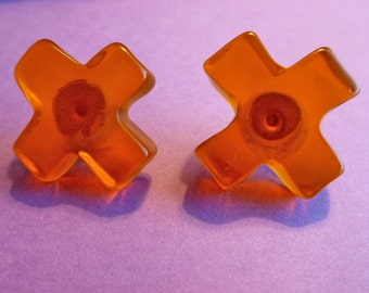 1/2 PRICE: 1980s Designer Amber Cross Earrings, Collectible NOS New Old Stock Cross Earrings, Earrings for Pierced Ears
