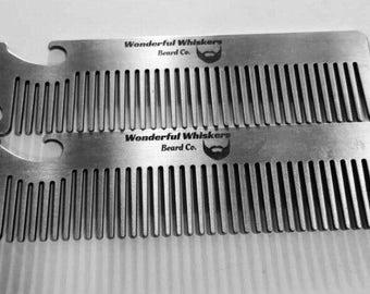 Bottle opener beard comb, Wonderful Whiskers Beard Co.