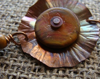 Hand forged copper bracelet and flower