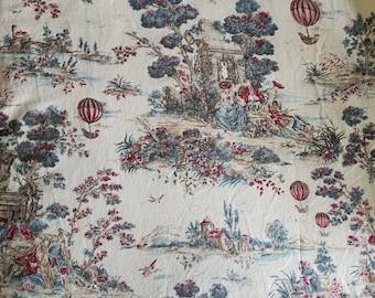 5 Yards French Provincial Toile du Jouy Curtain Fabric Cream based with Blue and Red
