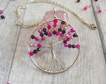 Cherry blossom Tree of Life Necklace, Crystal necklace, Sakura Jewelry, Pagan Jewelry, Alternative gift, Japanese jewelry,Yggdrasil necklace