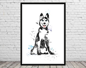 Siberian husky, watercolor art print, husky print, Siberian husky dog, watercolor husky, husky print, animal art, dog (4427b)