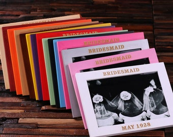 Personalized Wood Picture Photo Frames Engraved and Monogrammed Colorful Bridesmaid Gift or Room Decoration