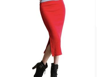 red midi skirt | pencil skirt | stretchy bodycon skirt | high waist stretch knit midi skirt with back split