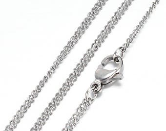 """Stainless Steel Necklace - Curb Chain with Lobster Clasp - 20"""" - Thicker 2mm - N367"""