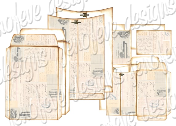 6x9 Printable Envelope Album  Collage & Plain Templates