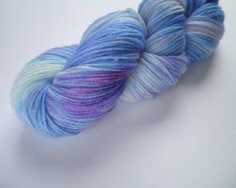 Hand dyed yarn, Merino, 3-ply, superwash, 493 yards, Virginia Bluebell