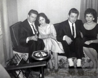 vintage photo 1960s Mad Men double Date Couples Skinny Tie Cigarettes White Sox