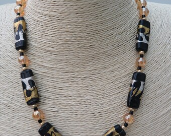 Champagne/gold and black necklace with toggle clasp