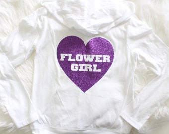 Will you be our Flower Girl, Lightweight Hoodie, Flower Girl Presents, Kids Hoodies, Hoodie Jacket, Purple Hoodie, Bridal Party shirts