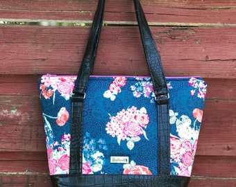 The Ella Bella Bag ~ Blue with Pink Flowers