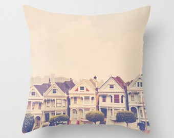 throw pillow cover, San Francisco throw pillow case, city home decor, neutral photo throw pillow cover, Painted Ladies, 18x18 pillow
