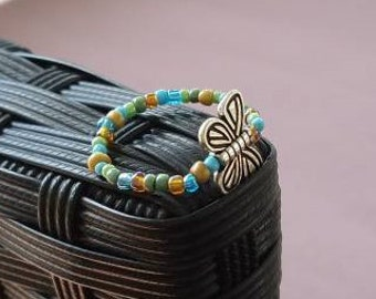 Multicolored Glass Beaded Elastic Butterfly Ring