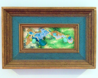 Betty Woodworth Clark Watercolor Mixed Media Collage Painting Framed