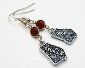 Georgia Birthstone Earrings, Personalized Goegraphy Earrings, US State Earrings, Georgia Gift, Map Jewelry, Swarovski Earrings