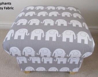 Elephants Grey Fabric Footstool Animals Pouffe Nursery Bedroom Foot Stool Bespoke