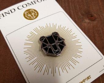 "Find Comfort ""Bear Pin"" Black lapel pin"
