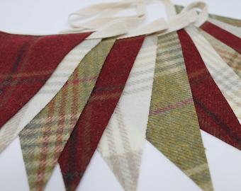 Tartan Bunting, Plaid Bunting, Scottish Bunting, Moon Tweed, Fabric Bunting, Christmas Bunting, Plaid Garland, Holiday Garland, Tartan Flags