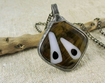 brown glass necklace, fused glass necklace, handmade
