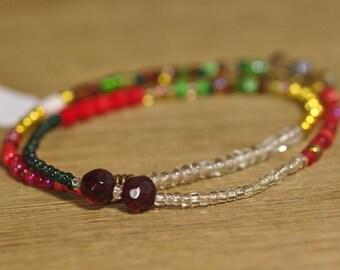 SALE! Stretch Bracelet, Wrist Distaff - Red/Green Seed Beads