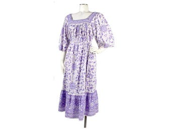 Vintage 70s Dress - 70s India Dress - Block Print India Dress - Boho India Dress - 70s Boho Dress - Festival Dress - Purple Dress - XL - XXL