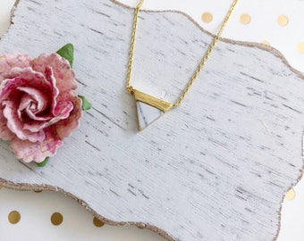 Gold Marble Triangle Dainty Necklace