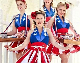 American flag dress,Captain America dress , MADE TO MEASURE!!