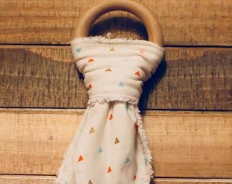 Bunny Ear Teether, Natural Wooden Teether, Teething Ring