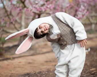 White rabbit costume / Bunny Outfit/ White Rabbit Alice in wonderland Costume/ Baby Costume/ Toddler Costume/Kids Costume