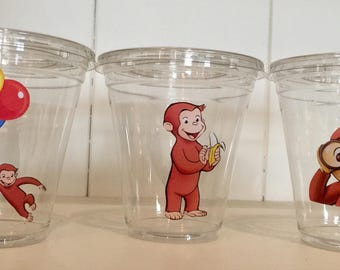 CURIOUS GEORGE 12 oz party cups with lids