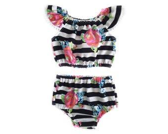 Baby Romper, Floral Romper, Baby Crop Top, Baby Bloomers Set, Summer Girls Clothing, Toddler Romper, Toddler Crop Top, Diaper Cover