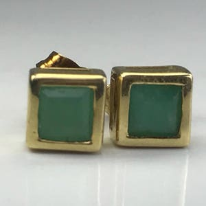 Vintage Emerald Earrings. 14K Yellow Gold. Estate Jewelry. May Birthstone. 20th Anniversary Gift. Gift for Her. Stud Earrings. Appraised.