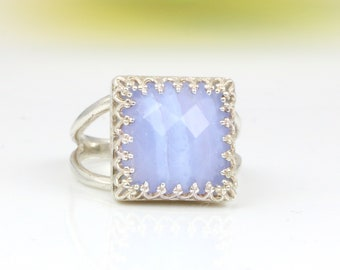 MOTHER'S DAY SALE - Lace agate ring,square ring,silver ring,gemstone ring,blue agate ring,natural stone ring,mom gift,mom ring