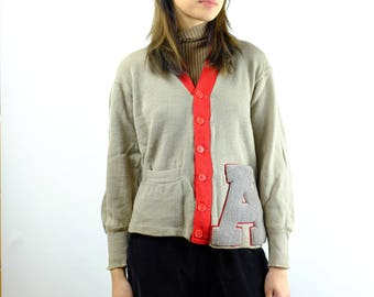 Vintage 50s Harmony Sweater A Cardigan Sweater - Varsity Football Sweater -  Roperknitting Co. 100% Wool Cardigan Sweater - Sz Medium