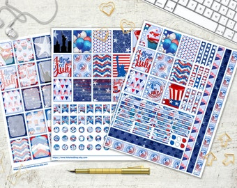 4th Of Jully Printable Planner Stickers Daily Planner USA Independence Day Red Blue White Patriotic USA Flag Star 8.5x11 Instant Download