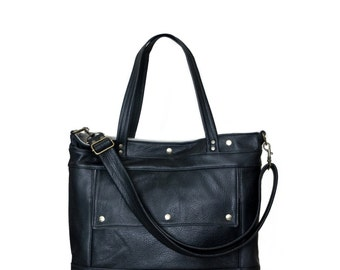 Leather Tote - Leather Laptop Briefcase Attorney Bag in Onyx Black Leather - Archive Bag - Made to Order