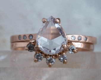 One of a Kind White Rose Cut Diamond Ring with Pavé Band
