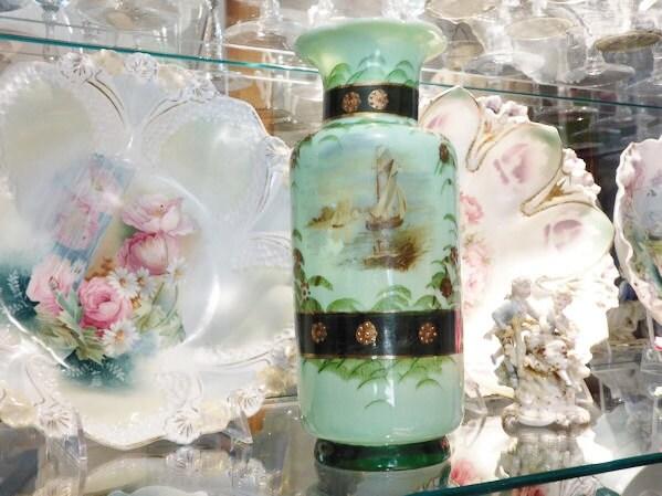 Bristol Glass Vase 1800s Victorian Opaline