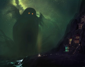 Cthulhu Looming from the Ocean Lovecraftian Horror Art Print - Multiple Sizes - The Nearest Shore to R'lyeh
