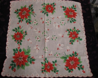 "CHRISTMAS POINSETTIA HANKY 12"" x 12.5"" Vintage Holiday Red & White Floral Flower Design Hankie Handkerchief Cotton Excellent Condition 580"