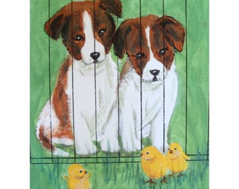 Original Painting * PUPPY DOGS * Baby Chicks * By Del Russo