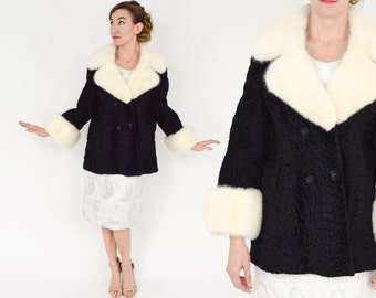 50s Black Persian Lamb Jacket |  Mink Collar & Cuffs | Large